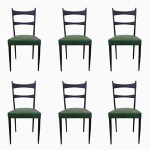 Italian Black and Green Chairs by Osvaldo Borsani, 1950s, Set of 6