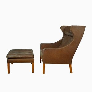 Leather Wingback 2204 Chair & 2202 Ottoman by Børge Mogensen for Fredericia, 1960s