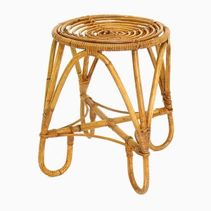 Rattan Stool by Rohé Noordwolde, 1960s