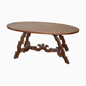 Antique Oval en Noyer Table