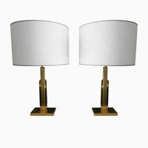 French Brass Lamps with Linen Shade, Set of 2