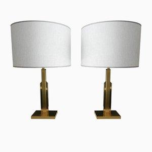 Lampade in ottone con paralume di lino, Francia, set di 2