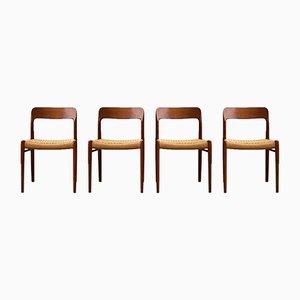 Chaises de Salle à Manger Modèle 75 par Niels Otto Møller pour J.L. Møllers, Set de 4