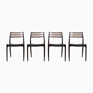 Mid-Century Model 78 Rosewood Chairs by N.O. Møller for J.L. Møllers, Set of 4
