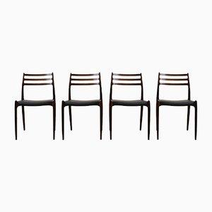Mid-Century Modell 78 Stühle von N.O. Møller für J.L. Møllers, 4er Set