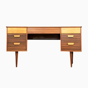 Walnut & Beech Concave Desk by Gunther Hoffstead for Uniflex, 1960s