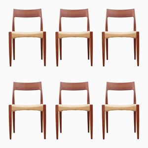 Chaises en Teck & Corde, Scandinavie, 1960s, Set de 6