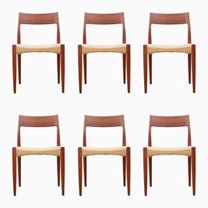 Skandinavische Stühle aus Teak & Seil, 1960er, 6er Set