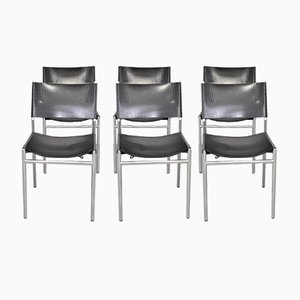 Chrome and Leather Dining Chairs by Martin Visser for 't Spectrum 1980s, Set of 6