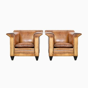 Leather Lounge Chairs by Bart Van Bekhoven, 1960s, Set of 2