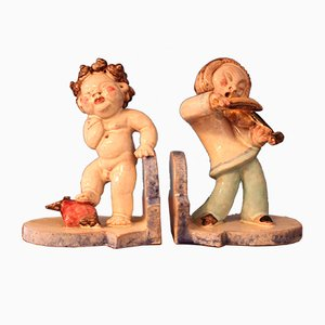 Vintage Cupid & Violin Player Ceramic Bookends by Walter Bosse, Set of 2