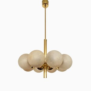 Sputnik Brass & Glass Chandelier from Kaiser Leuchten, 1960s