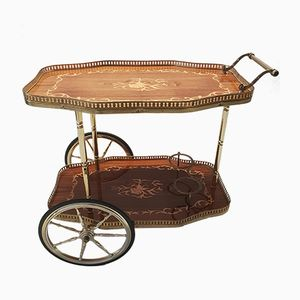Italian Brass Bar Cart with Wooden Inlay, 1950s
