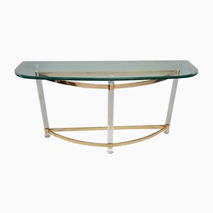 French Gilt and Lucite Console Table with Facet Glass Top, 1970s