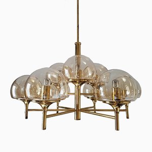 9-Arm Brass Chandelier with Smoked Glass, 1960s