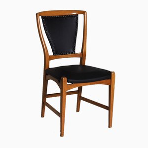 Fruitwood and Imitation Leather Dining Chairs, 1960s, Set of 6