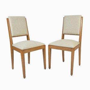 Französische Beistellstühle aus Eiche, 1950er, 2er Set