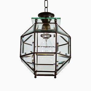 Lanterna in ottone e vetro tagliato, Italia, anni '50