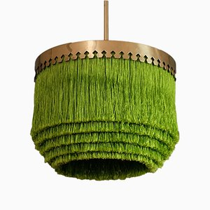 Grüne Deckenlampe mit Fransen von Hans-Agne Jakobsson, 1960er