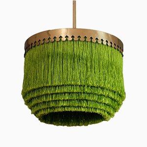 Lámpara de techo en verde con flecos de Hans-Agne Jakobsson, años 60