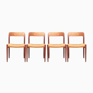 Scandinavian Model 75 Chairs by Niels Otto Moller, 1960s, Set of 4