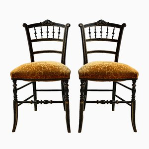 Antique Ebonised Side Chairs, Set of 2