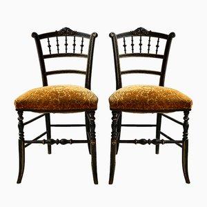 Chaises d'Appoint Antiques en Bois Noirci, Set de 2