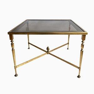 Mesa de centro vintage de metal dorado