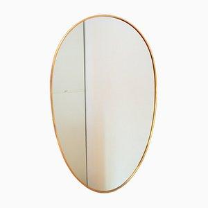 Mid-Century Italian Oval Brass Wall Mirror, 1950s