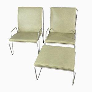 Vintage Bachelor Stühle mit Fußbank, 2er Set