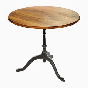Vintage Walnut Bistro Table with Cast-Iron Base