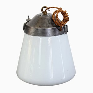 Industrial Opaline Pendant Light from Siemens, 1930s