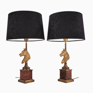 French Brass & Burl Walnut Horse Lamps, 1970s, Set of 2