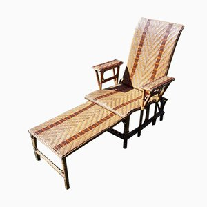 Bamboo & Rattan Chaise Lounge, 1950s