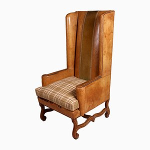 Antique French Winged High Back Leather Armchair, 1890s