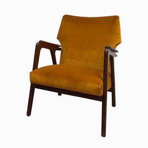 Danish Mid-Century Velvet Wingback Armchair