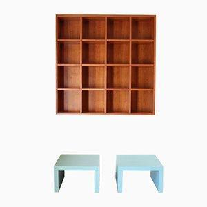 Librería Quadrata con dos mesas auxiliares de Pietro Meccani