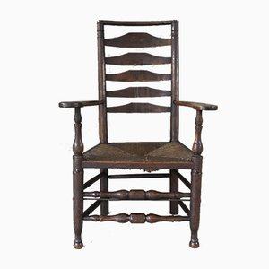Antiker Stuhl aus Eiche & Ulme mit Leiterlehne