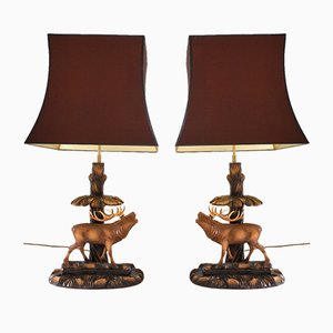 Lámparas con venados de Rhön Sepp, años 40. Juego de 2