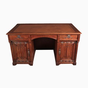 Victorian Gothic Revival Oak Desk, 1880s