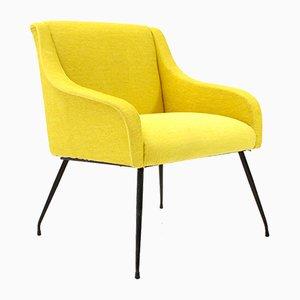 Mid-Century Yellow Italian Velvet Armchair, 1960s
