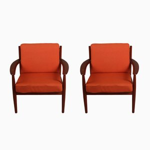 Mid-Century Danish Teak Lounge Chairs by Grete Jalk for France & Son, Set of 2