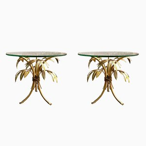Hollywood Regency Gold Palm Tree Side Tables by Hans Kögl, 1960s, Set of 2