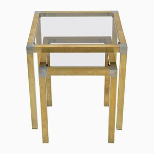 Brass & Smoked Glass Nesting Tables, 1950s