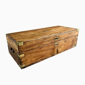 Large Antique Campaign Travel Trunk