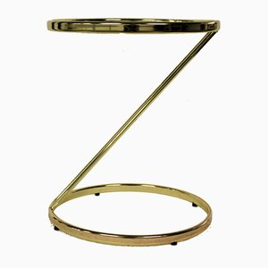 Vintage Z-Shaped Brass Side Table, 1970s