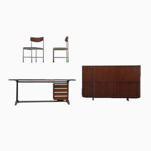 Rosewood Office Set by Alberto Rosselli for Arflex, 1950s