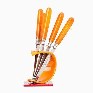 Obstmesser mit Messerhalter aus Bakelit von Otto Hammesfahr für Bestecke Solingen, 1950er