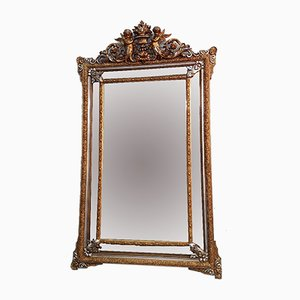 Napoleon III Mirror with Gold & Silver Beads, 1890s