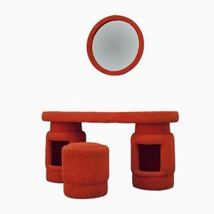 Plüschstoff-Frisiertisch mit Hocker & Spiegel, 1970er